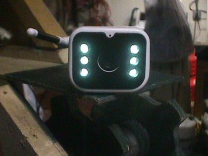 Infrared illuminator LEDs on a wireless camera.